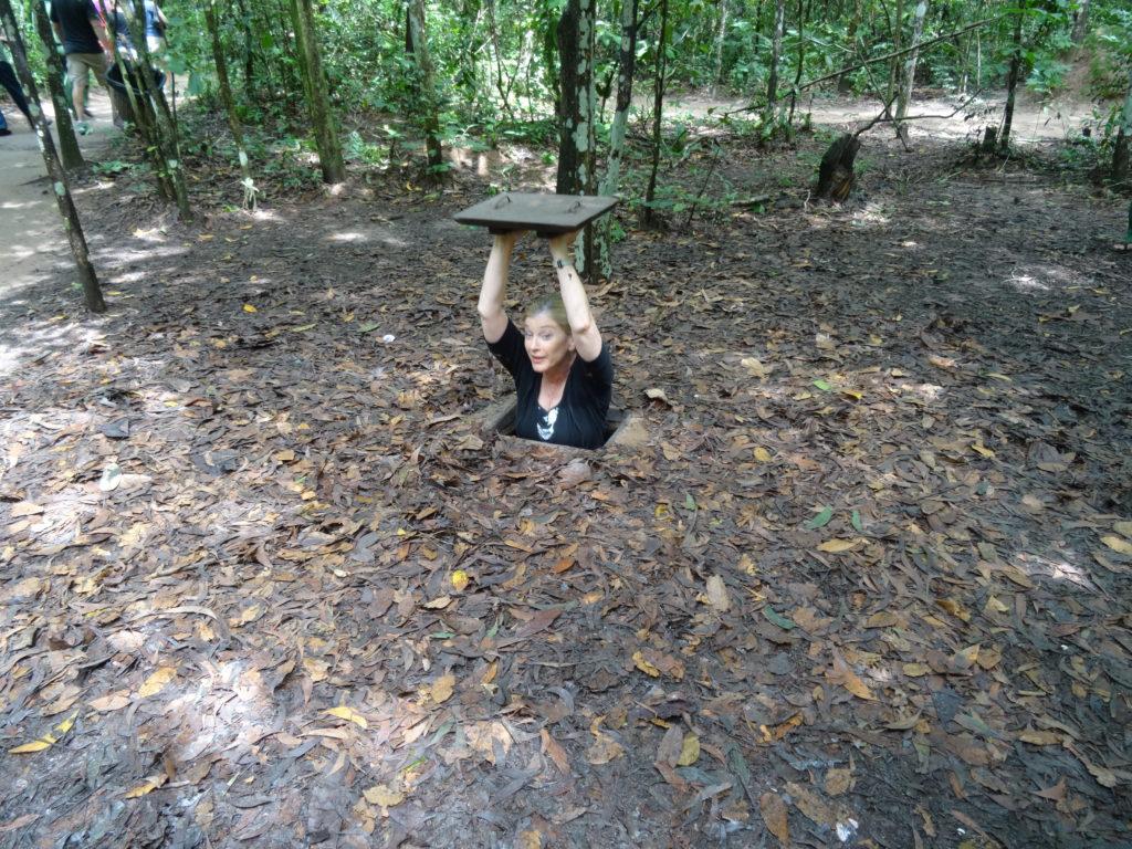 Travel Journalist Terry Anzur, Cu Chi Tunnel Tour in Vietnam