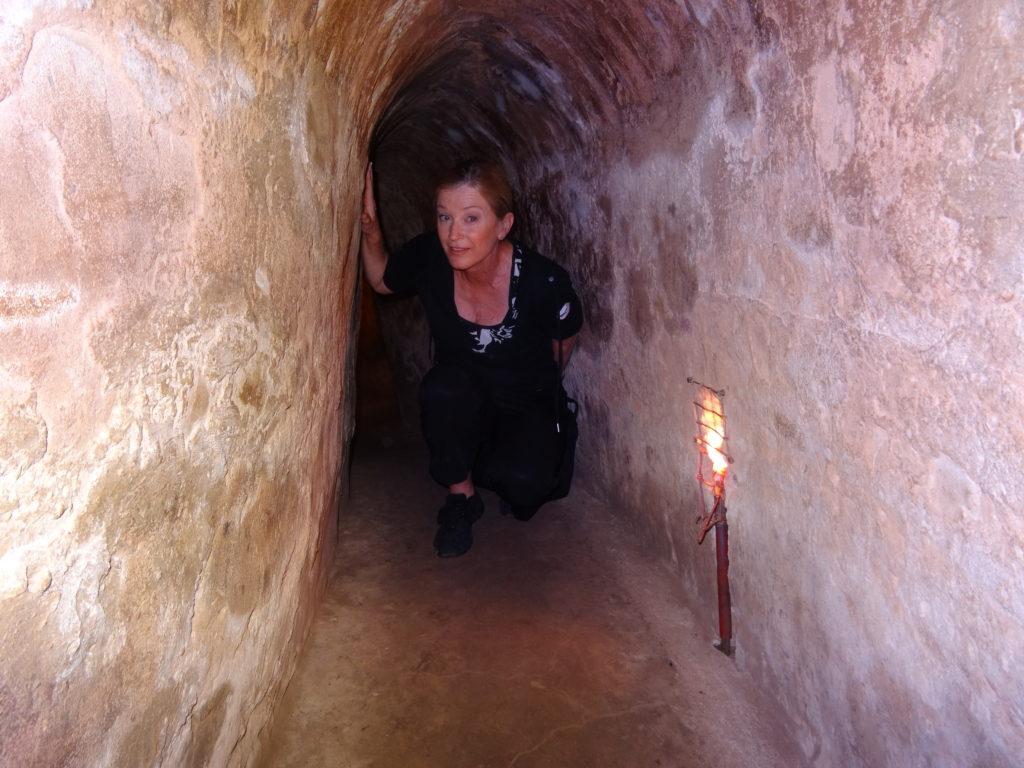 Journalist Terry Anzur visits Cu Chi Tunnels, Vietnam.