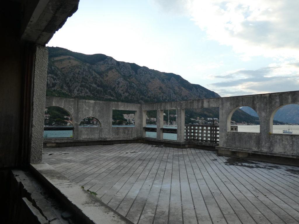 Terrace of abandoned Hotel Fjord, Kotor, Montenegro.